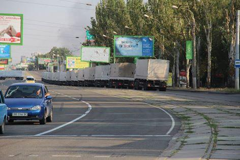 Russian trucks in Lugansk