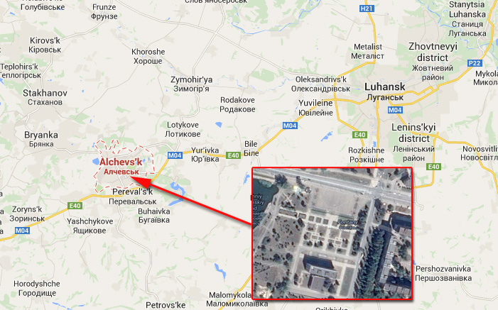 Alchevsk on map