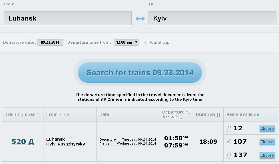 Lugansk Kiev train tickets
