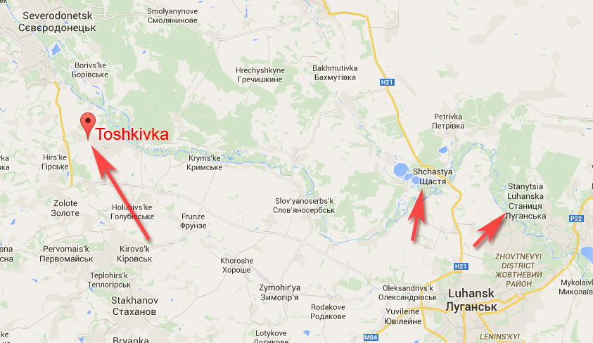 Toshkivka on the map