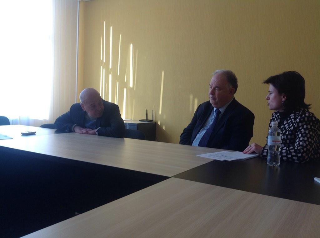 The head of OSCE Ertugrul Apakan meeting with the Governor of Lugansk Region Moskal