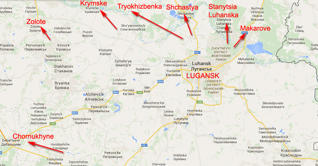 Map of shelling in Lugansk Region
