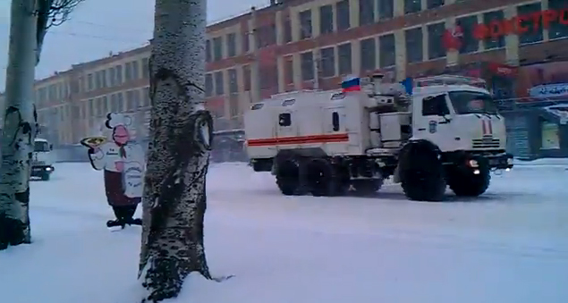 "Russian white trucks of ""humanitarian"" aid convoy in Lugansk"