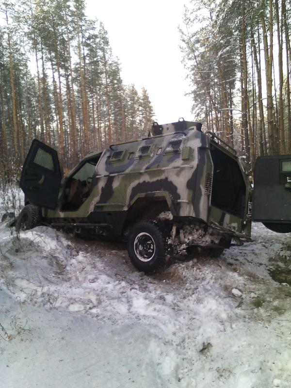 Damaged Ukrainian armored vehicle. Photo by National Security and Defense Council