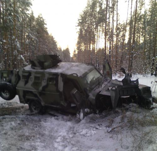Damaged Ukrainian armored vehicle