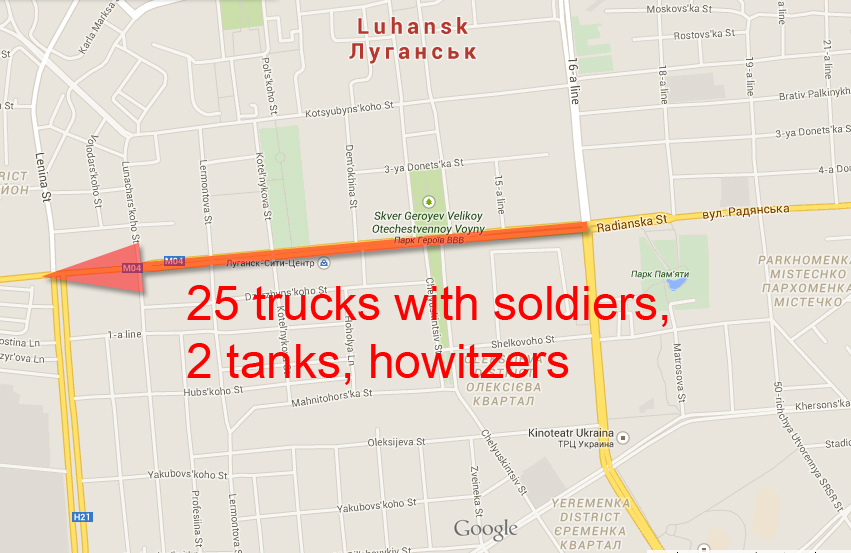 Russian Army moving in the center of Lugansk