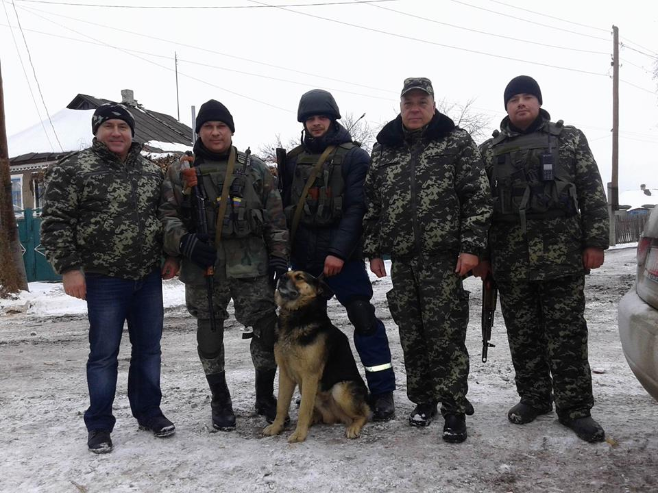 Border guards from Chernivtsy and their dog Bars