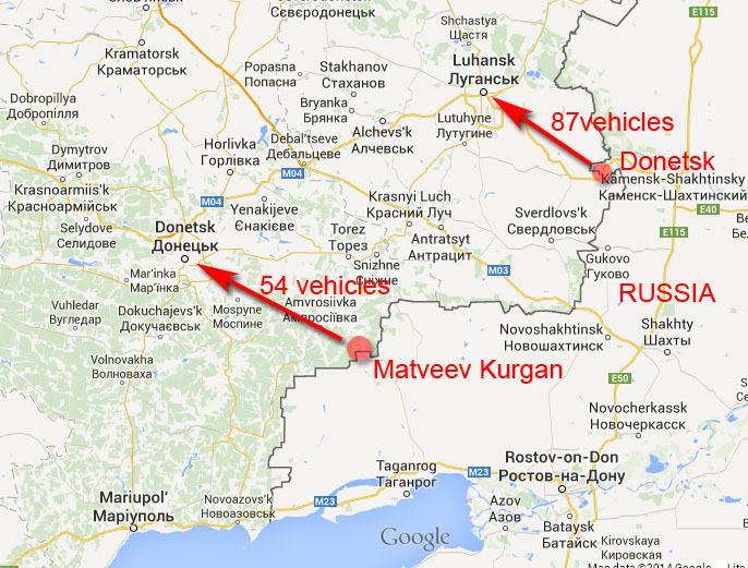 "Russian ""humanitarian"" aid convoy. Map."