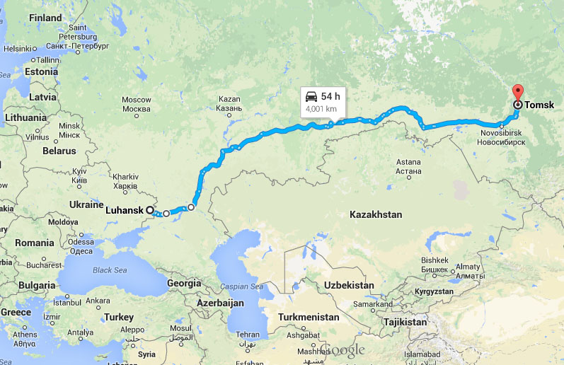 Travel distance that Russian soldiers travel from Tomsk to Lugansk is 4000 km