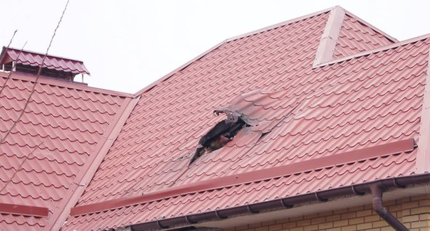 Damaged to the roof on Izvestkova st in Lugansk