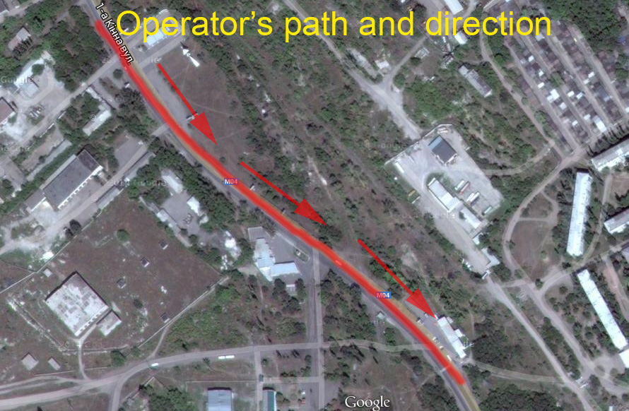 Operator's path and direction in Krasnodon
