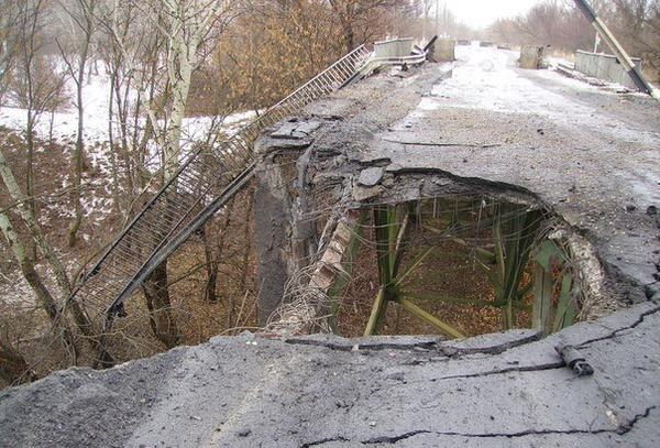 Damaged bridge in Stanyntsia Luhanska