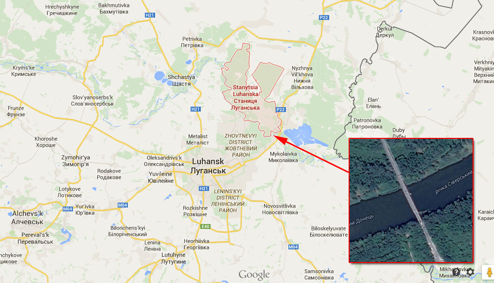Damaged bridge near Stanyntsia Luhanska on the map