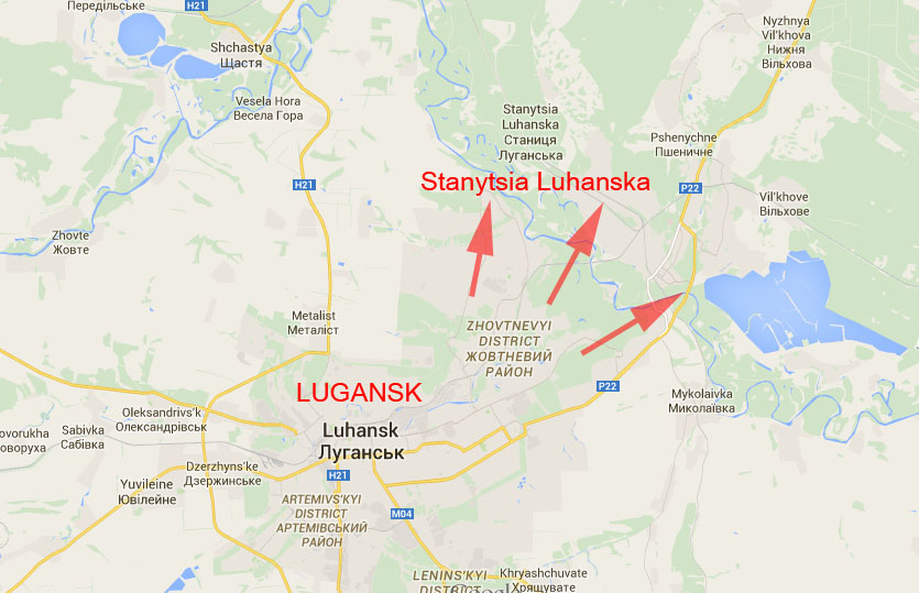 Stanytsia Luhanska on the map