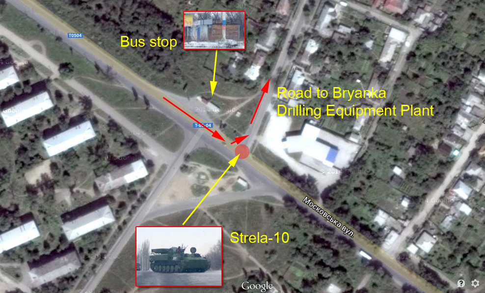 Russian Strela-10 in Bryanka on the map