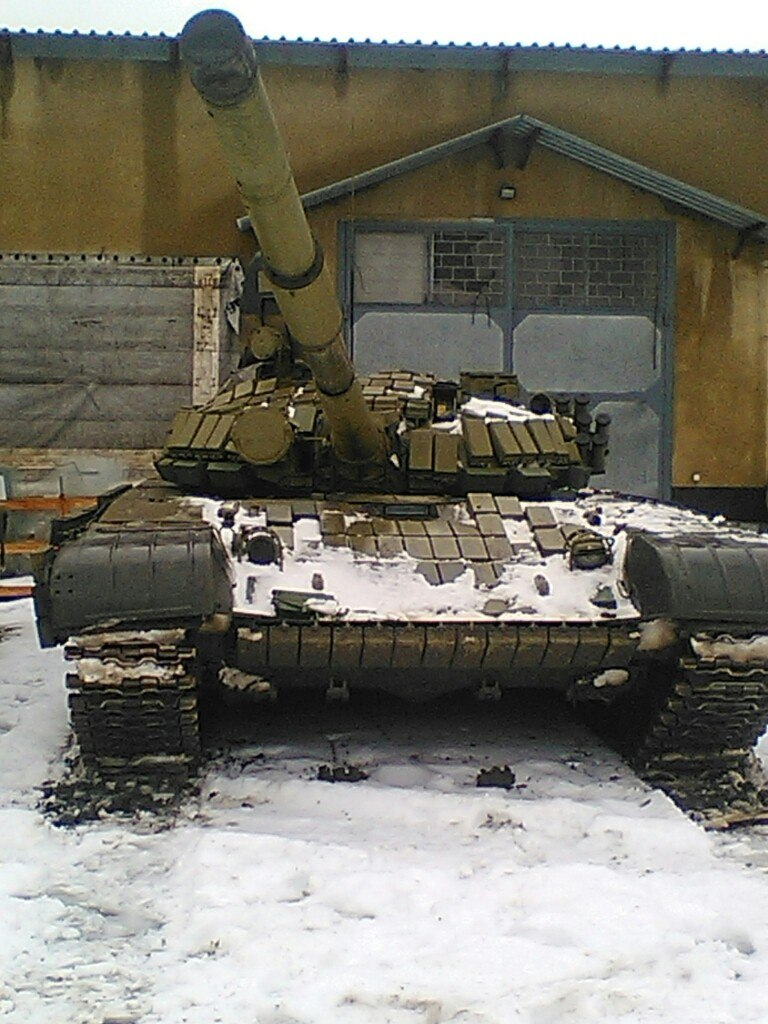 Tanks on a Russian military base in Lugansk