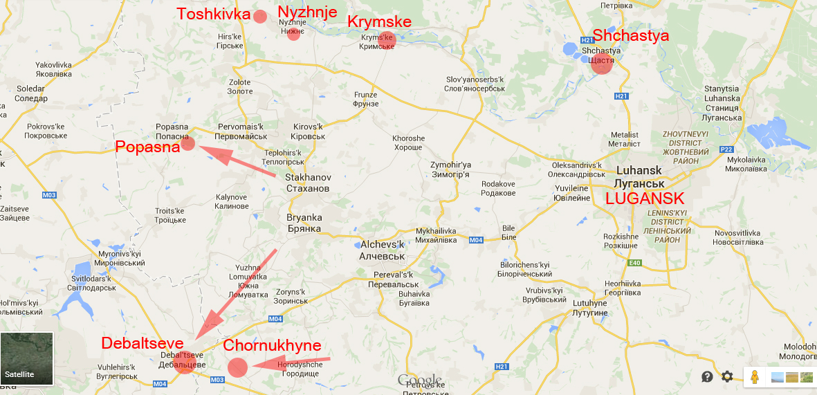 Popasna and Chornukhyne are still under attack