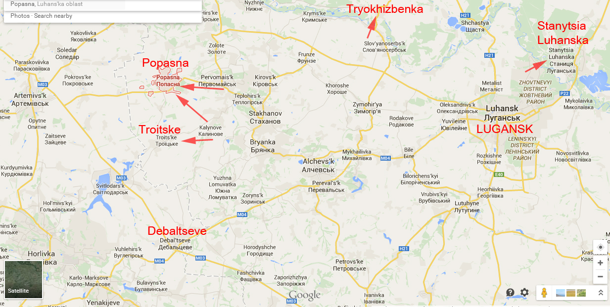 Map of attacks in Lugansk Region in the last 24h