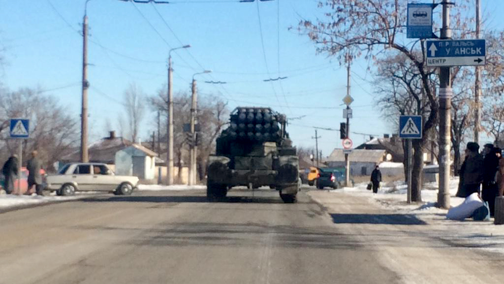 "Russian ""URAGAN"" MRLS is moving through Alchevsk to Perevalsk after it shelled Debaltseve"