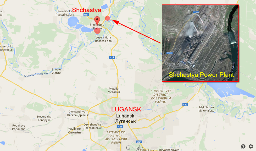 Shchastya Power Plant on the map