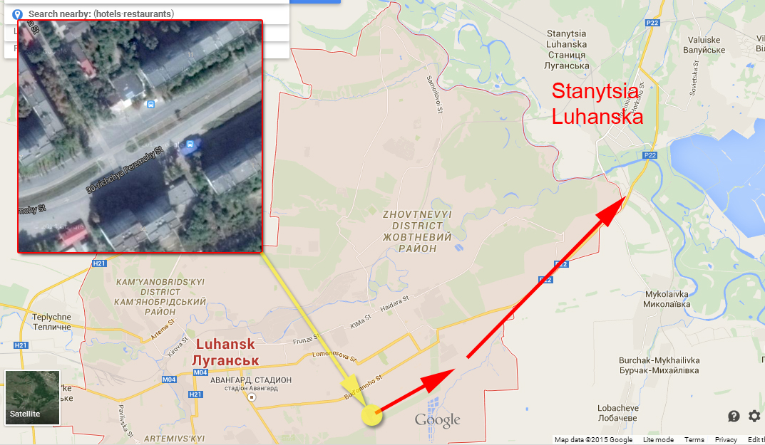 Terrorists self-propelled artillery moving in Lugansk to the positions of Ukrainian Army