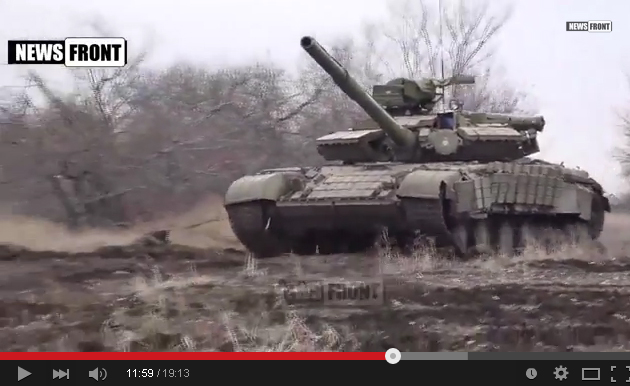 Russian tanks on training near Lugansk.