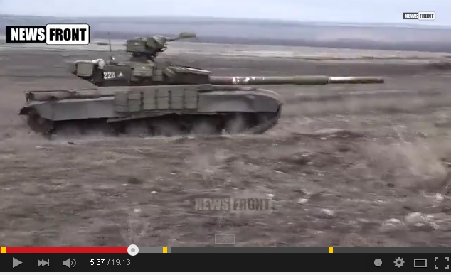 Russian tank on training near Lugansk
