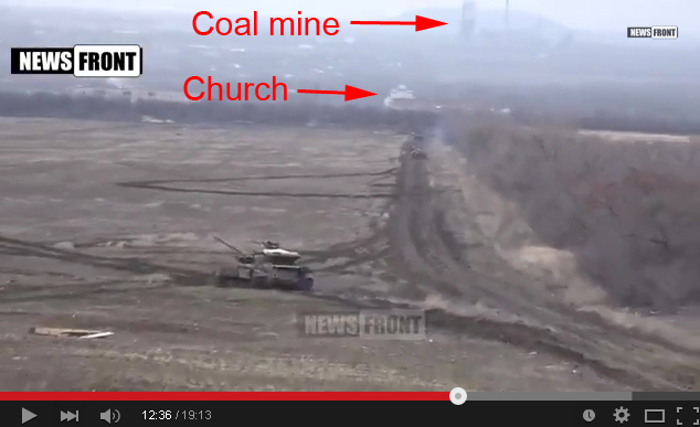 Screenshot. Church and coal mine. Location LPR tank units training.