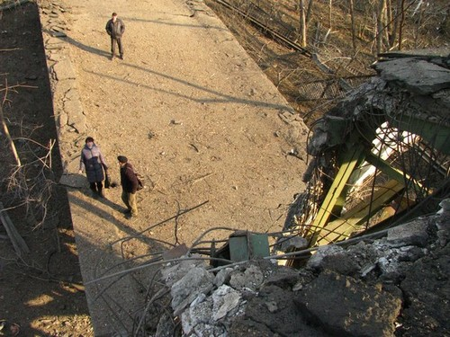 Destroyed bridge in Stanytsia Luhanska