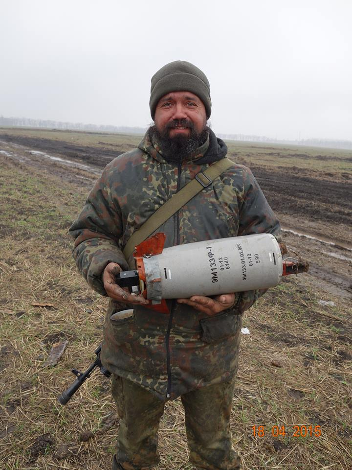Ukrainian soldier with Russian ATGM 9M133f-1 Kornet