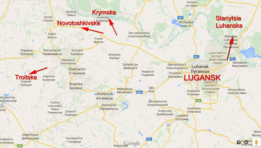 Map of attacks in Lugansk Region in the last 24 hours
