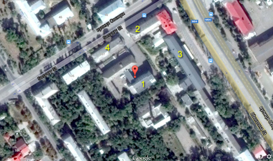 Russian Army barracks in Lugansk on a map