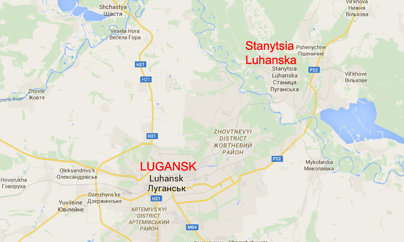 Stanytsia Luhanska on a map