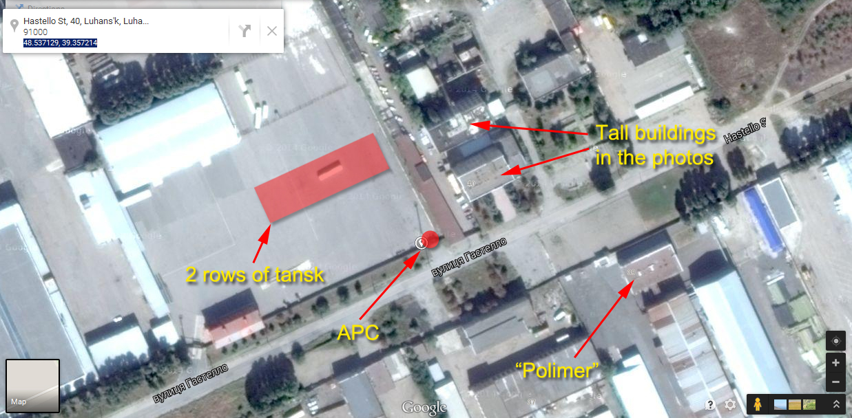 Location of Russian tanks on the map in Lugansk