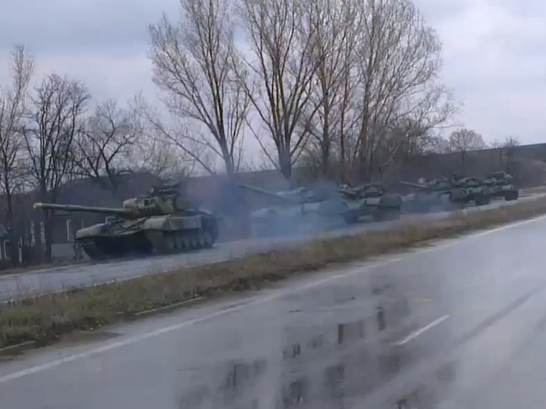 Group of tanks moving in the convoy