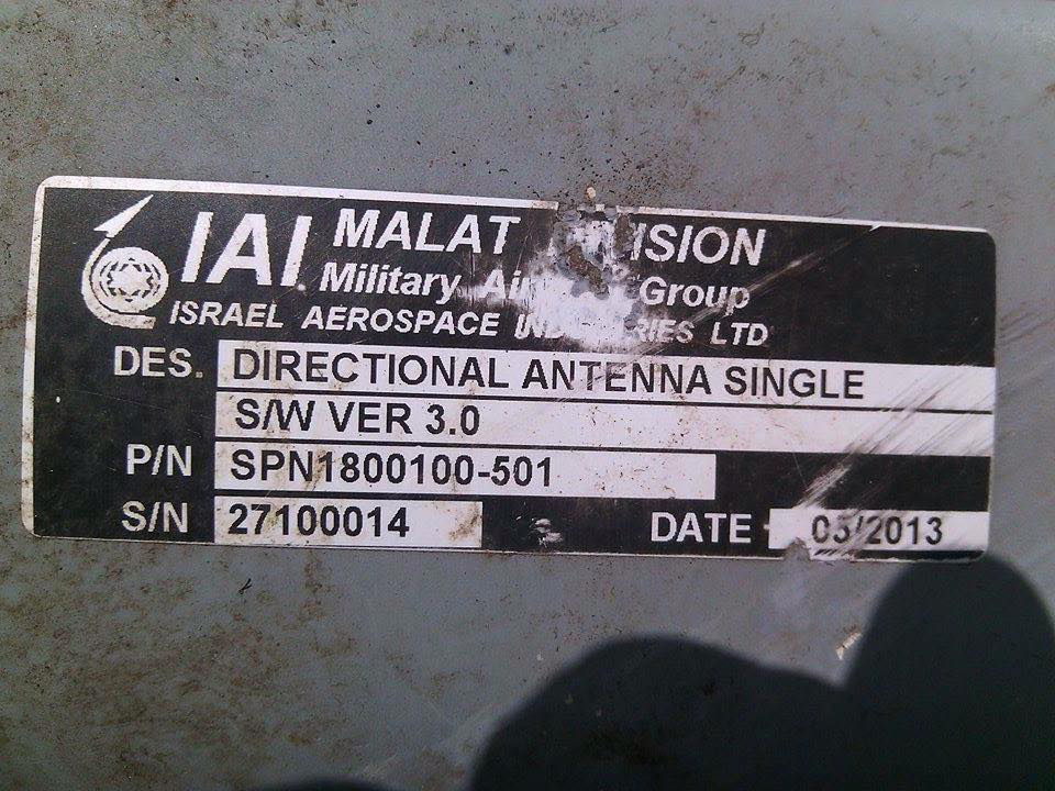 Israel Aerospace Industries (IAI) label on Russian UAV FORPOST shot down in Ukraine