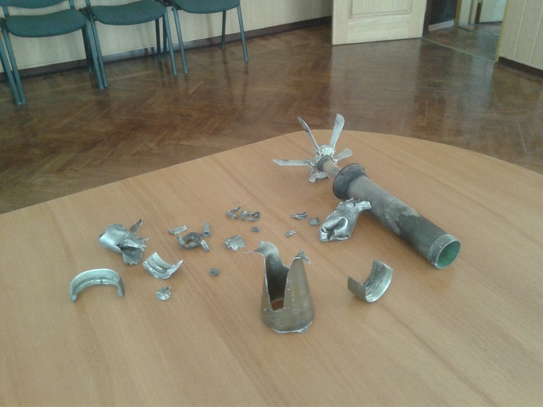 Remains of the shells that exploded in Stanytsia Luhanska tonight