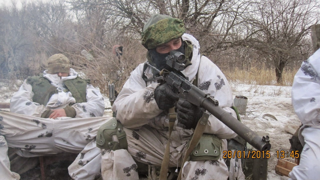 Russian Special Forces soldier Krivko with AS Val riffle in Ukraine