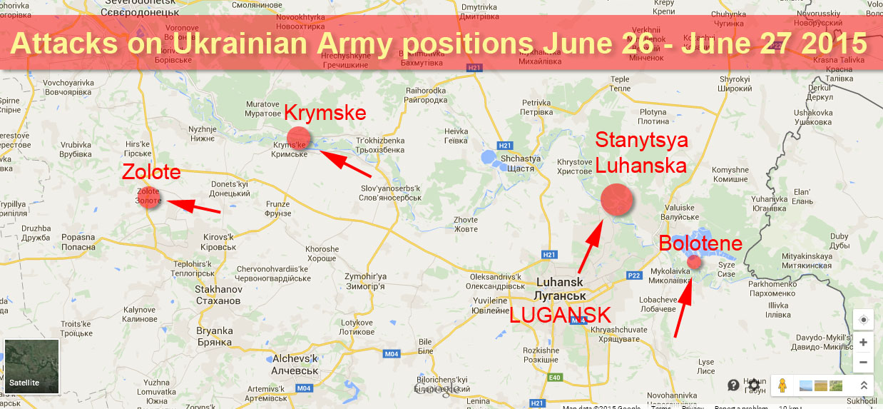 Attacks on Ukrainian Army positions in the last 24 hours in Lugansk Region