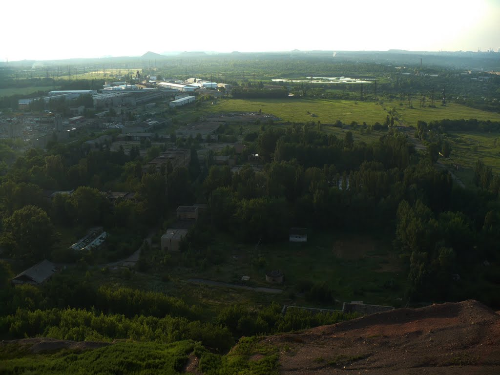 Panoramic photo of a coal mine near Donetsk where Russian base is located