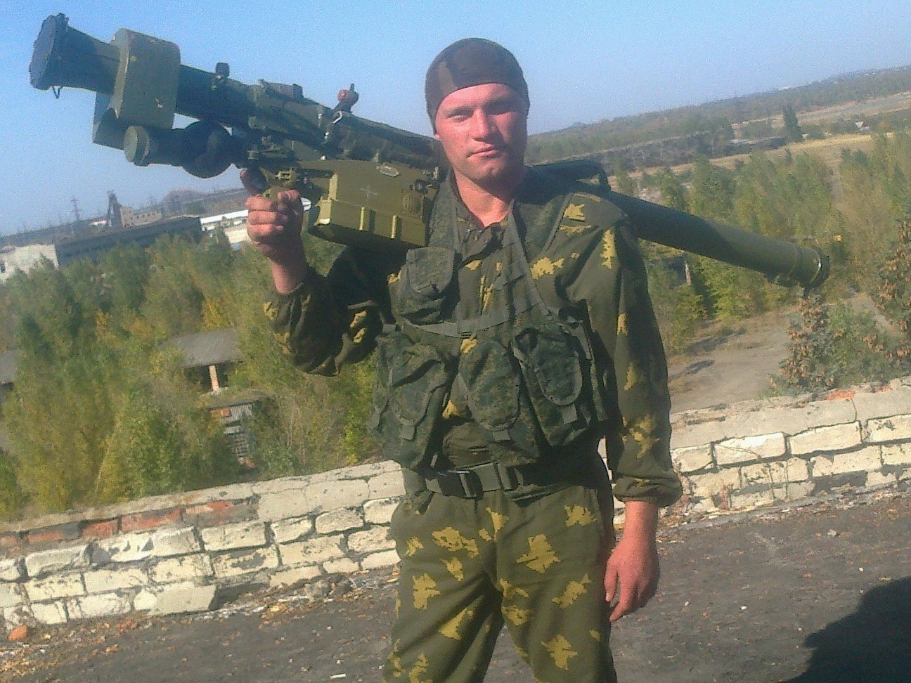 Sergey Polkanov, Russian soldier with Igla-S (SA-24) SAM near Donetsk in Ukraine.