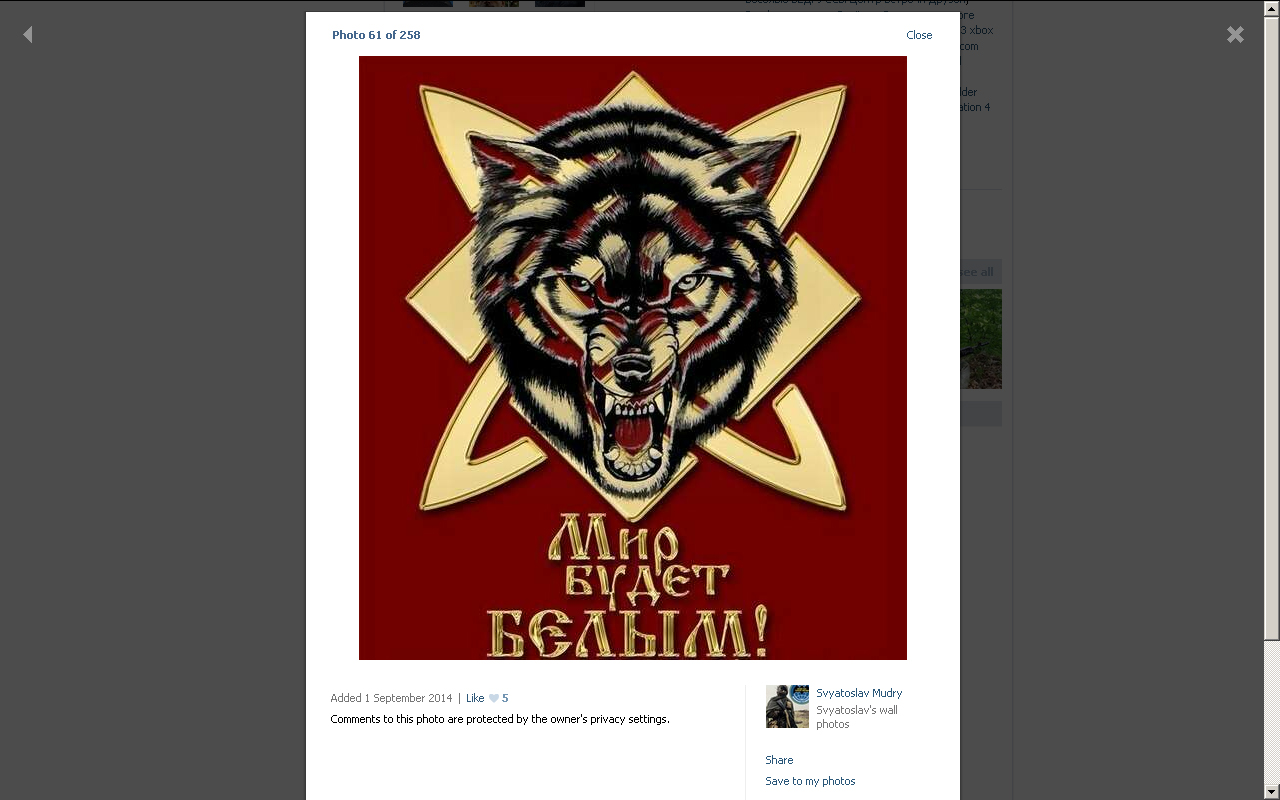 Screenshot of Ramenskiy photo album with a picture of Russian neo-nazi symbolic