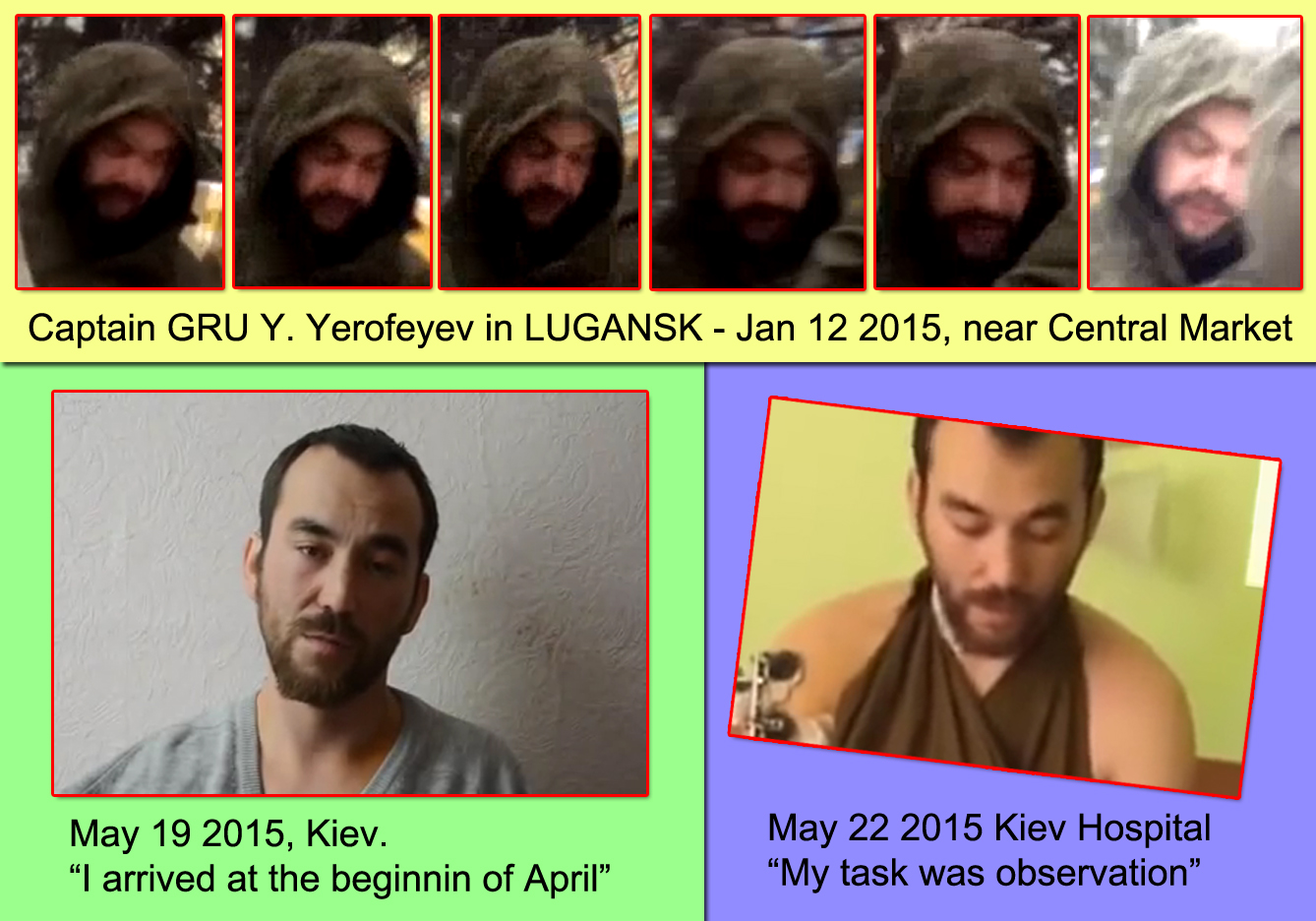 Russian GRU soldier Yevgeniy Yerofeyev identified on a video recorded in Lugansk on Jan 12 2015