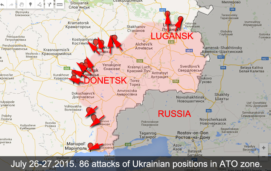 Map of attacks on Ukrainian positions in the last 24 hours in Donetsk and Lugansk Regions