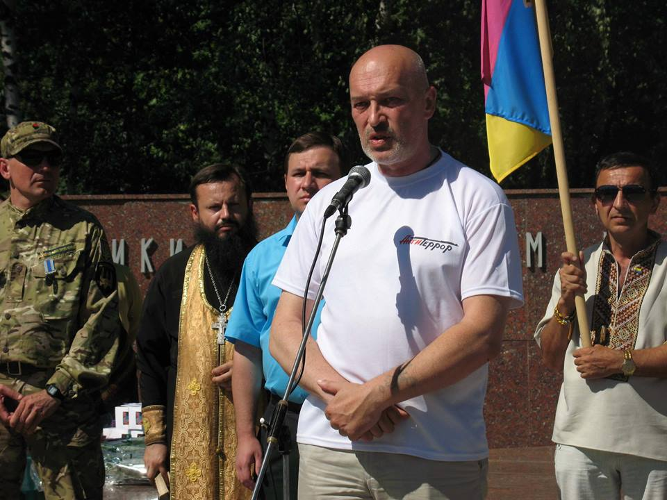 George Tuka in Lysychansk on the celebration of city liberation