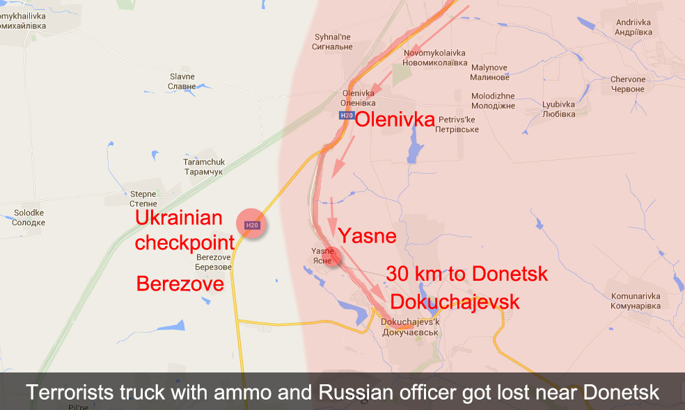 Terrorists truck with ammo and Russian officer missed the turn and got to Ukrainian checkpoint