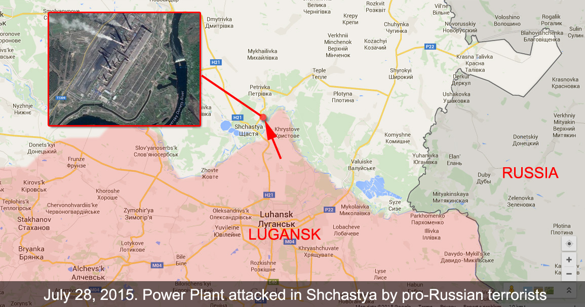 Pro-Russian terrorists attacke power plan in Shchastya