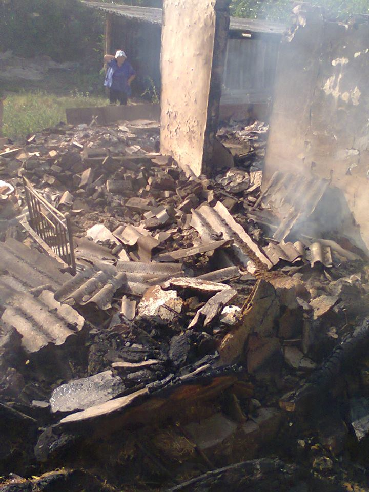 Burnt house in Stanytsia Luhanska after night shelling