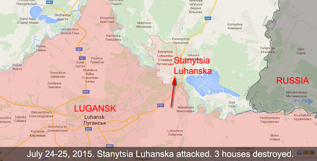 3 houses destroyed in Stanytsia Luhanska, 1 civilian and 1 soldier wounded.