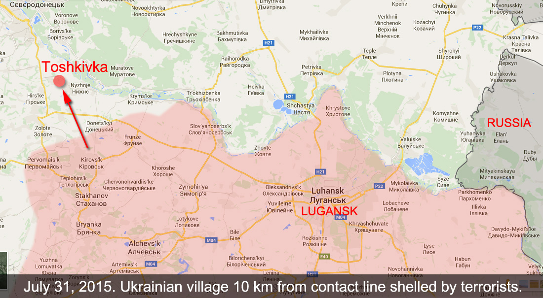 Toshkivka is located 10 km away from the contact line
